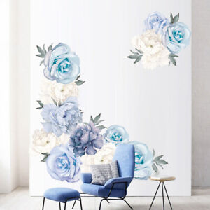 Blue Peony Rose Flowers Wall Stickers for Kids Room Living Room Home DecUTWA