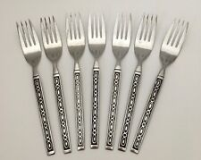 7 Imperial Stainless Dinner Forks Ovals Black Accent Mid-Century Modern Flatware