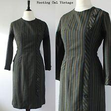 VINTAGE 1950S ORIGINAL DRESS STRIPED WIGGLE BUTTONS ROCKABILLY WINTER 14 16