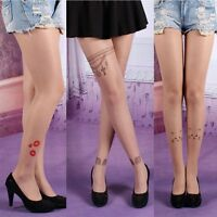 Cute Women Thigh High Hosiery Pantyhose Tattoo Tights Socks Stockings Sheer Lady