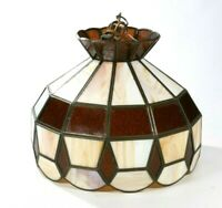 Vintage Brown & Tan Stained Slag Glass Hanging Tiffany Style Light Chandelier