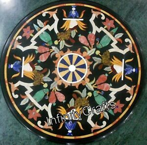 24 x 24 Inches Black Marble Table Top Round Shape Coffee Table Top Floral Work