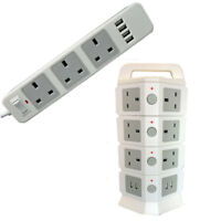 JnDee 3 Gang 2M 5M Extension Lead plus 4 USB Ports Power Strip Surge Protector