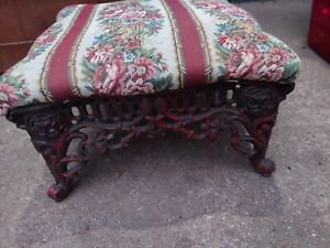 Vintage Tapestry Foot Rest Stool Fabric Footstool Ottoman wrought iron Legs