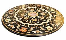 "42"" round black Marble inlay semi precious stone Table Top home decor"