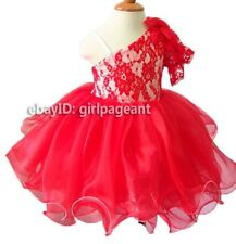 Infant//toddler//baby Pink Lace Floral Crystals Pageant Dress 2T G315