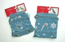 NEW Dog Cat Winter XS  M Pet Blue Denim Jacket Christmas Vest Snowflake Candy