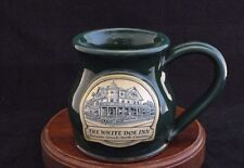 "John Deneen Pottery Green Mug ""The White Doe Inn"" Made in USA"