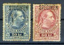 1873 Austria Telegraph stamps:SPECIMEN 20KR, 60KR; MH & OG