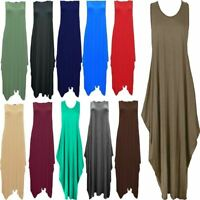 New Womens Italian Lagenlook Tulip Parachute Dress Stretchy Sleeveless Tunic Top