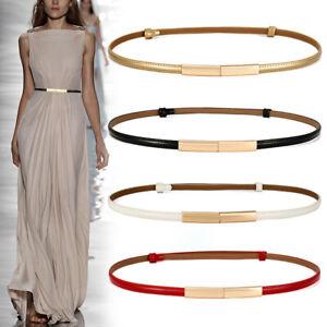 Women Fashion Leather Belt Thin Skinny Metal Gold Elastic Buckle Waistband Belts