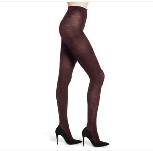 FALKE Kyoto Embossed Floral Opaque TIGHTS Size Small Barolo Burgundy $40 - NWT
