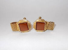 Vintage 1980's Swank Mesh Wrap Cufflinks-Gold Tone-Square Amber Thermoset Stone