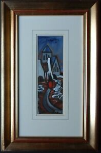 J P ROONEY B1950 ORIGINAL SIGNED OIL PAINTING FEMALE FIGURE ON A CHURCH FOOTPATH