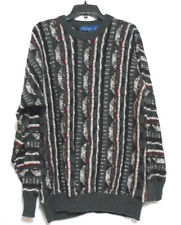 Vtg Towncraft Gray Black Striped 1980's Hipster Mens Large Crew Neck Sweater