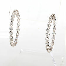 OPULENT SOLID 14K WHITE GOLD & 5.5 CTS. DIAMONDS LADIES INSIDE OUT HOOP EARRINGS