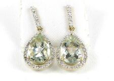 Fine Green Amethyst & Diamond Ladies Drop Earrings 14K Yellow Gold .92Ct
