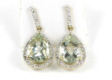 Green Amethyst & Diamond Ladies Drop Earrings 14K Yellow Gold .92Ct
