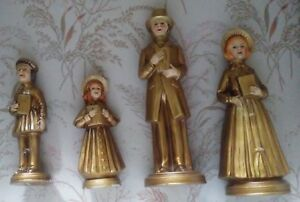Papier Mache Choir Singers - Set of 4 in Antique Gold - Charles Dickens Style.