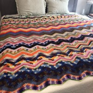 """Vintage Handmade Zig Zag Crocheted Afghan Queen Size 72""""x95"""" Colorful Boho Hippy"""