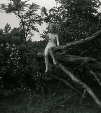 BW Vintage Stereo Realist Photo 3D Stereoscopic Slide NUDE Perched on Tree Limb