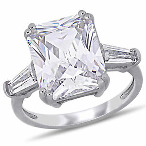 Amour Sterling Silver Cubic Zirconia 3-Stone Engagement Ring