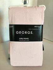George Girls Size 12-14 2-Pair Tights Pink With Hearts & Black NWT