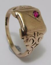 100% Genuine Antique Vintage 9K Solid Rose Gold 0.10cts Ruby Signet Ring Sz 10