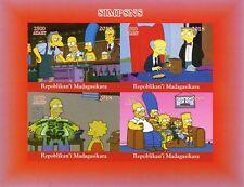 Madagascar 2018 MNH Simpsons Homer Bart Simpson 4v IMPF M/S I Cartoons Stamps