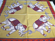 """THAILAND SILK SCARF ELEPHANTS in circle GOLD , RED PURPLE  hand made WOW 35"""""""