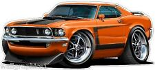 1969 Ford Mustang Boss 302 Cartoon Car Wall Graphic Decal Stickers Boys Room