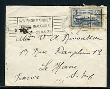 France - Oblitération du Voyage Inaugural du Normandie en 1935  - réf J 21