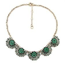Costume Fashion Necklace Gold Short Floral Enamel Green Emerald Retro SD4