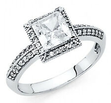 14k Solid white Gold princess cut  Engagement Wedding  Ring size 4-9