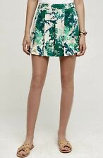 NEW Anthropologie Elevenses green ivory Leaf Drapy Pleat Overlay Shorts Skort 2