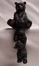 BLACK BEAR WITH CUBS SHELF SITTER/COMPUTER SITTER , 7 INCHES TALL (EAX)