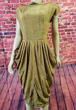 Weekend New York Paris Vintage Rare Women Midi Dress Rayon Pleated Gold Sz 9/10