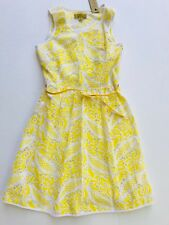 Nicole Miller Girls Dress Yellow Cotton Sleeveless Summer L Belt Zipper Holiday