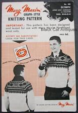 5188d374a Mary Maxim No. 500 Knitting Pattern Mens Olympic Sweater Sizes 38