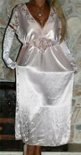 M / L LONG LACY PINK SATIN VINTAGE LINGERIE NEGLIGEE NIGHTGOWN
