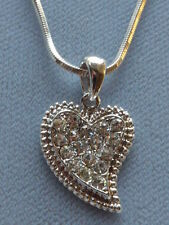 """SPARKLING CLEAR PAVE CRYSTAL HEART NECKLACE - 16"""" SNAKE CHAIN"""