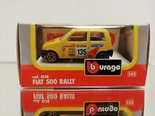 BBURAGO BURAGO 4138 FIAT CINQUECENTO RALLY Yellow MINT BOXED. 1:43