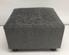 Footstool / Pouffe / Small Stool /dark grey Herringbone Chenille British Made