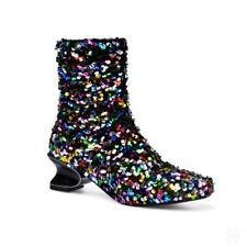 Multicolor Sequins Bling Women's Cuban Heel Square Toe Ankle Boots Pull On 34-45