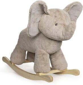 GUND Baby Elephant Rocker with Wooden Base Plush Stuffed Animal Nursery - NEW