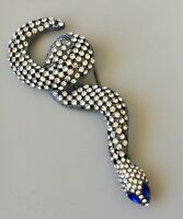 Large  Snake Brooch pin  pewter  Tone Metal with  Crystals