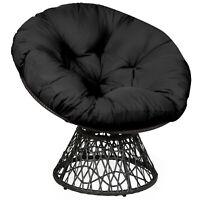 Rattan Papasan Chair Ergonomic Chair 360-degree Swivel Soft Cushion Garden Black