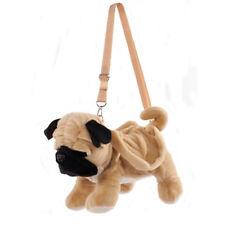 Super Soft Childrens Kids Ladies Plush Pug Dog Shoulder Cross Body Bag Handbag