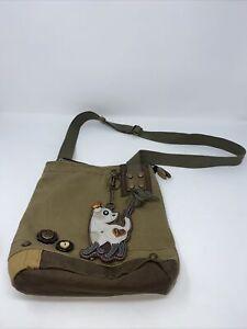 Chala Patch Crossbody Canvas Handbag Cat Purse Charm for Women green olive color