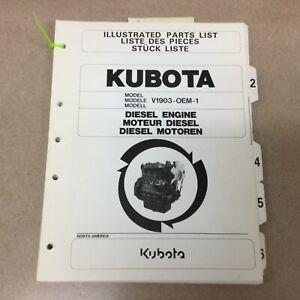 Kubota V1903-OEM-1 DIESEL ENGINE PARTS MANUAL BOOK CATALOG LIST GUIDE 9789804520